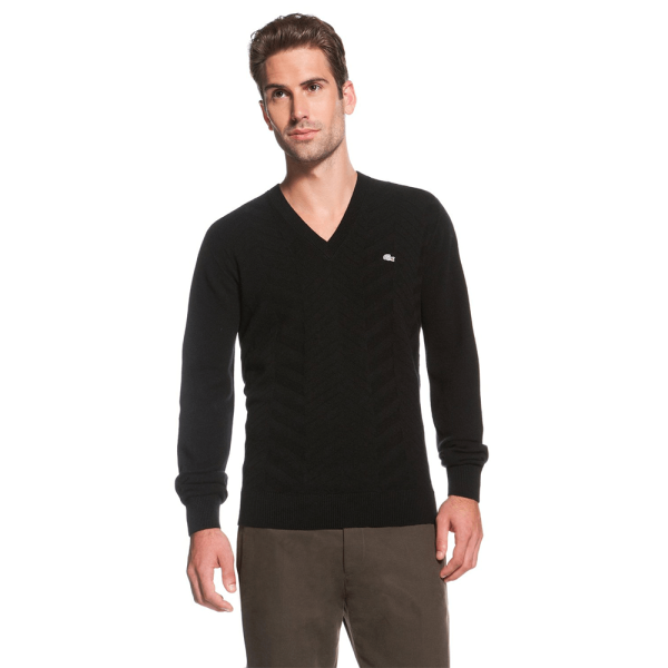 Lacoste V-Neck cashmere sweater – black