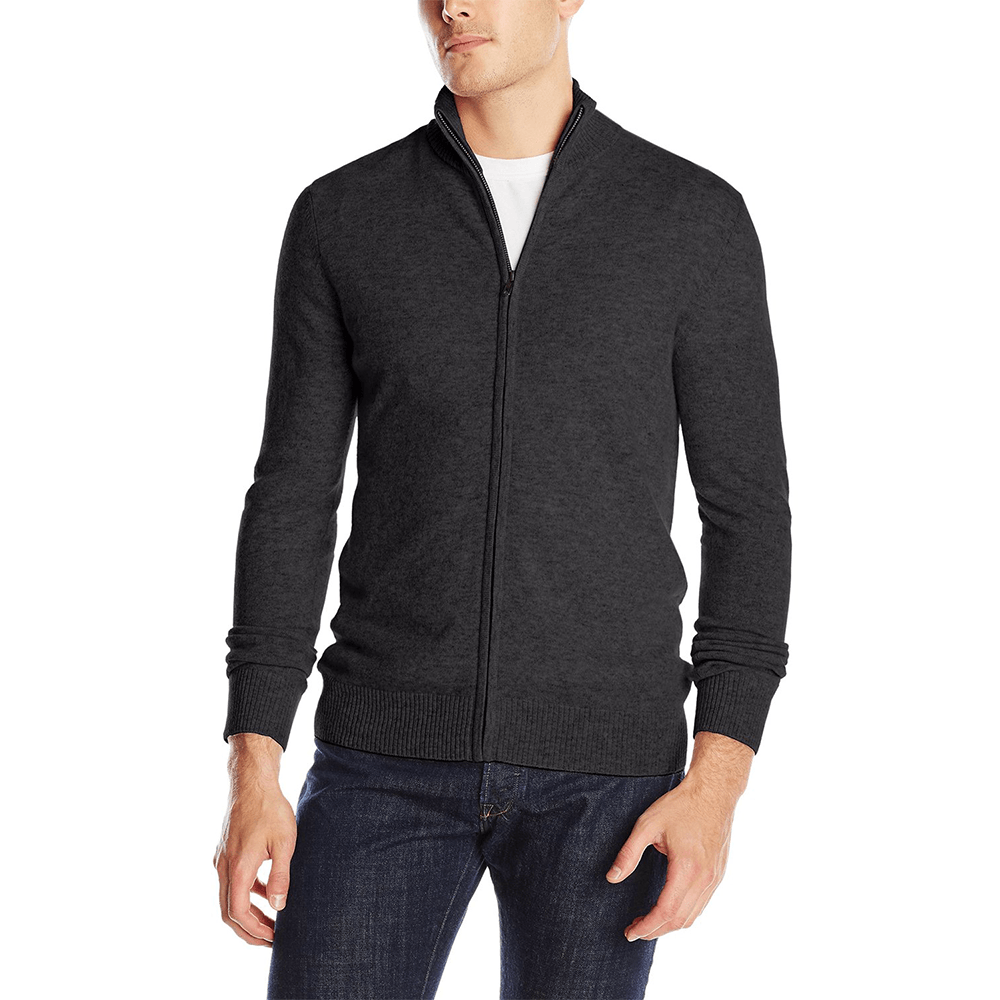 1/2 Mock Neck Full Zip Cashmere Sweater for Men