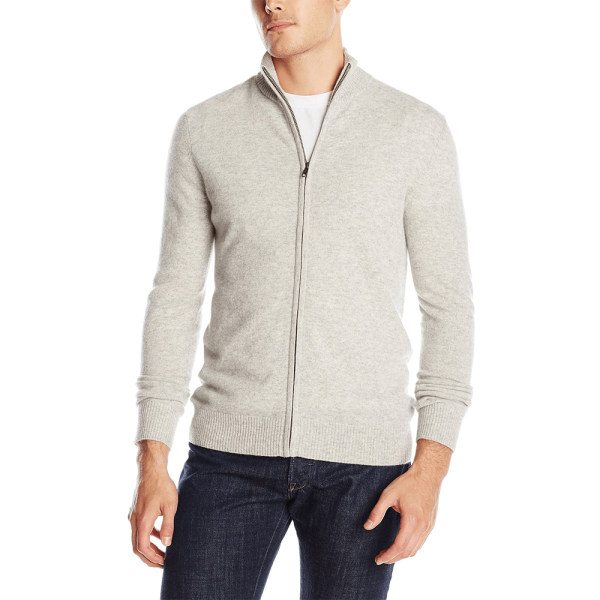 Full zip cashmere sweater for men