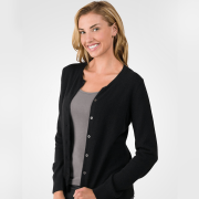 Cashmere long sleeve cardigan with buttons – side