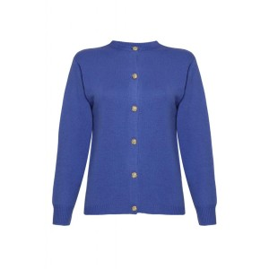Ladies Golfer Cashmere Cardigan - Blue