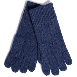 Navy cashmere gloves, cable knit