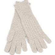100% Cashemre Cable Knit Gloves – Stone