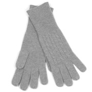 100% Cashemre Cable Knit Gloves – Gray