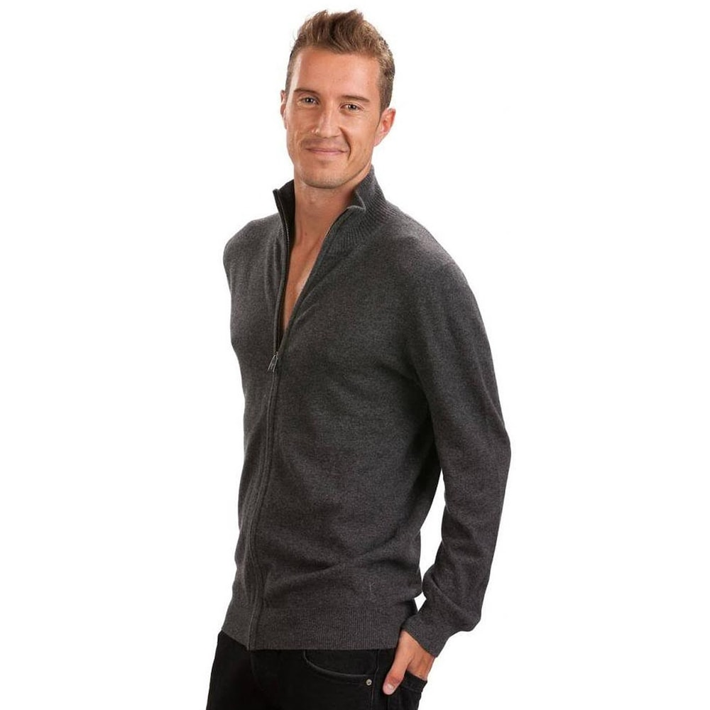 Gray Cashmere Zippered Cardigan by Citizen Cashmere