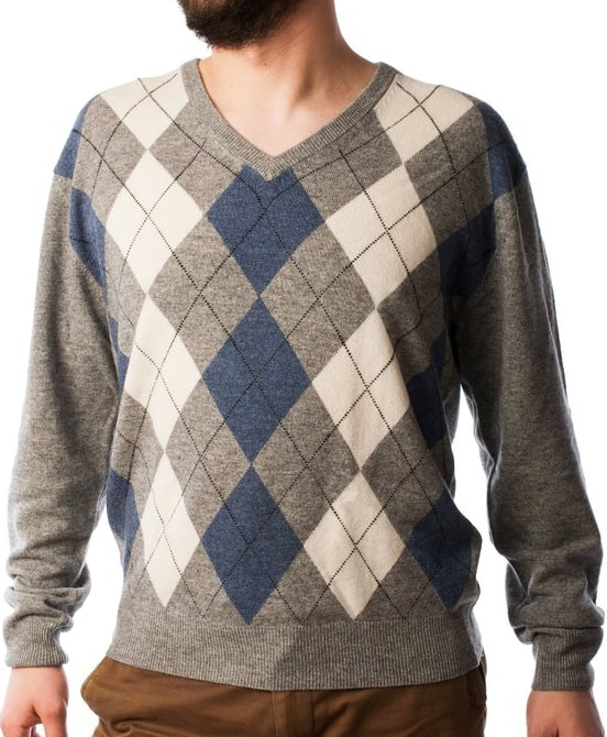 Argyle V-Neck Cashmere Sweater for men