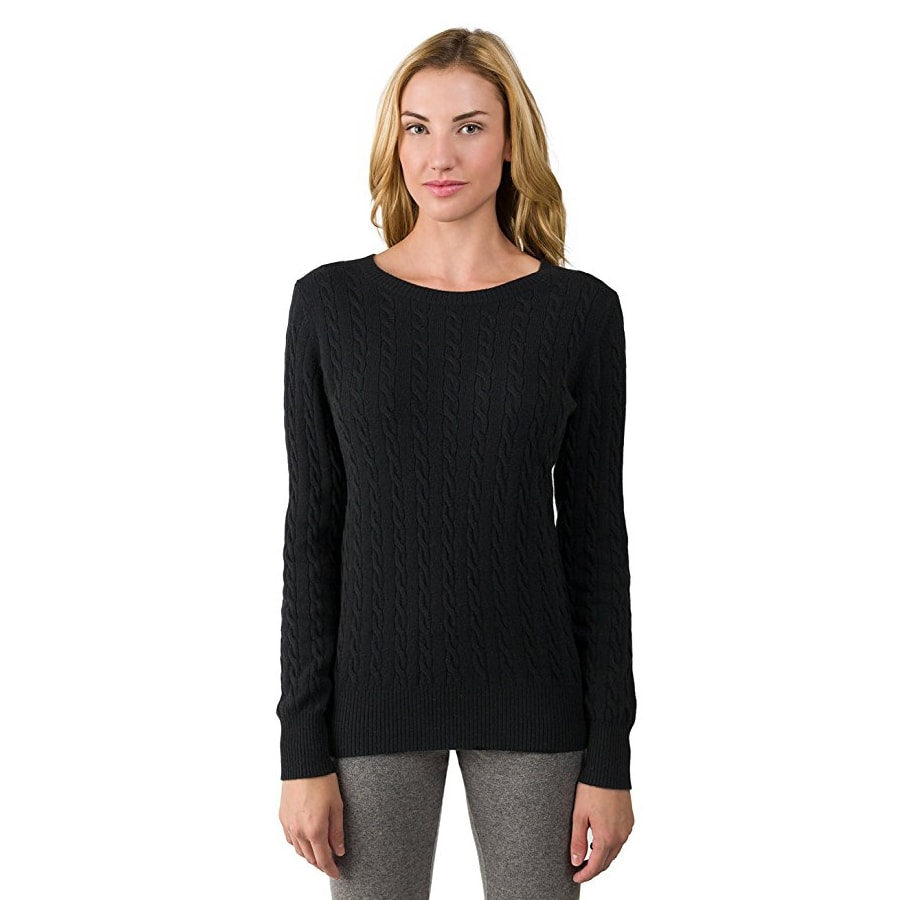 2 Ply Cashmere Crew Neck Pullover Sweater for Women