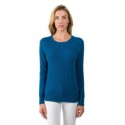 Ribbed Cashmere Pullover Crew Neck Sweater – Navy
