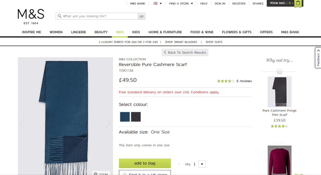 Reversible Cashmere Scarf - M&S
